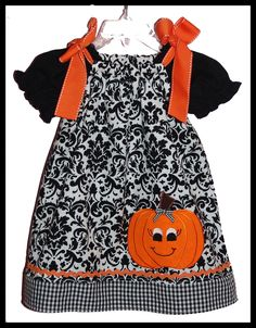 Super Cute Halloween  Damask Pumpkin Applique Dress.