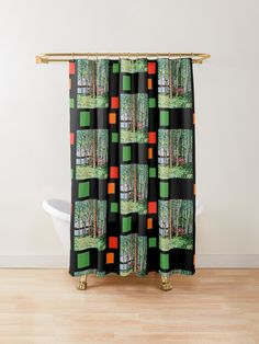 'The Escape Hut' Shower Curtain Shower curtain design featuring a painting of a typical Finnish sum