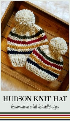 Hudson Knit Hat for toddlers and adults. Make lovely matching beanie gifts for parents & child. So cute. Love the classic Hudson's Bay stripes and colors! #etsy #ad #handmade #toque #winterhat #thebay