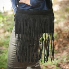 Black suede all fringe cross body bag