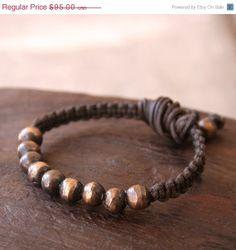 On Sales Solid Bronze Beaded Macrame Bracelet by losttribedesigns, $80.75