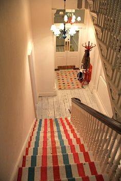 Kate Spade London pop up shop striped painted stairs