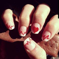 My nurse nails! For getting graduating nurse school :) Graduation Nails, Nursing School Graduation, Mani Pedi, Manicure, Nurse Nails, Nurse Party, Icu Nursing, Nursing Shoes, Heart Nails