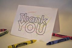 Color Me Kids' Thank You Card  Set of 8 Cards by CreativeNutMedia, $10.00