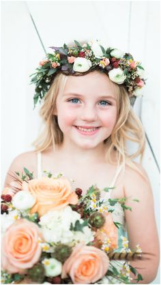 Flower girl, tousled blonde curls, wedding bouquet with orange roses, colorful flower crown, pin this to your own inspiration board! // Adria Lea Photography