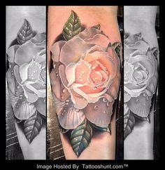 Beautiful 3D White Rose Tattoo