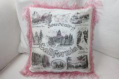 Vintage California Travel Souvenir Pillow Cover by ModernDayLuella
