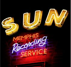 Neon sign for Sun Recording Studio, Memphis TN Vintage Neon Signs, Vintage Ads, Sun Records, Neon Nights, Neon Light Signs, Old Signs, Advertising Signs, Neon Lighting, Tool Design