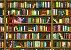 In the library, including books  --  illustration by:  Yusuke Yonezu