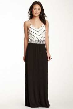 Embroidered Colorblock Maxi Dress by S.H.E. on @HauteLook