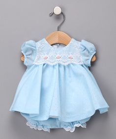 Take a look at this Blue Dobby Dress & Bloomers - Infant by C.I. Castro & Jayne Copeland on #zulily today!