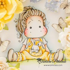 Handmade by Tamara: Spring tag ❀ I am roses Digi Stamps Free, Digital Stamps, Magnolia Colors, Collages, Paper Peonies, Pastel Paper, Toned Paper, Tatty Teddy, Marker Art