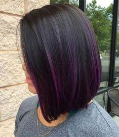 Black Hair With Highlights, Hair Highlights, Purple Highlights, Purple Balayage, Balayage Hair, Short Balayage, Bob Hairstyles, Straight Hairstyles, Bob Haircuts