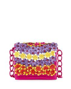 Medium Floral Flap-Top Crocodile Shoulder Bag, Pink by Nancy Gonzalez at Bergdorf Goodman.