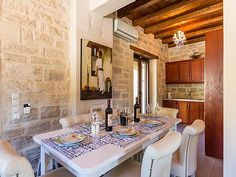 Rethymno villa rental - Dining area next to the kitchen! Private Pool, Thalia, Dining Area, Swimming Pools, Villa, Kitchen, Home, Swiming Pool, Pools