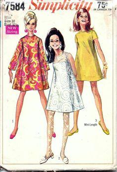 Vintage 1960s Simplicity TENT A-Line DRESS Slip Sew Pattern 7584 Size 10 B32.5