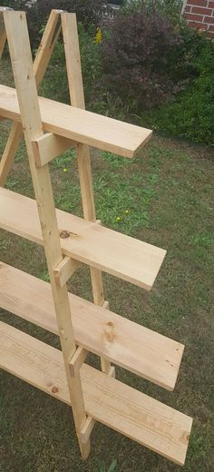 Ladder Shelf 4 ft Wooden Ladder Craft Fair Display Craft Show Display Portable Display Display Stand Trade Show Display Wooden Shelf Wood Ladder Shelf, Ladder Display, Rustic Ladder, Rustic Bookshelf, Shelf Display, Rustic Wood, Wood Display Stand, Pallet Shelves, Christmas Village Display