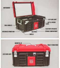 Coolbox Toolbox Includes USB Charger, Speakers, Whiteboard And More