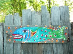 Funky Fish Beach Decor Repurposed Art by evesjulia12 on Etsy, $48.00