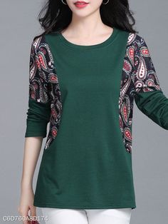 Round Neck Patchwork Casual Printed Long Sleeve T-Shirt – Refashion clothes - - Blouse designs Blouse Styles, Blouse Designs, T-shirt Refashion, Umgestaltete Shirts, Casual Tops For Women, Dress Sewing Patterns, T Shirt Diy, Casual Outfits, Fashion Dresses
