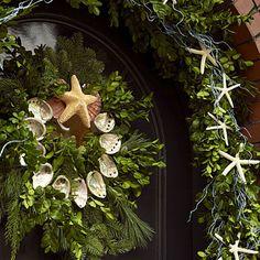 shell wreath and garland = beachy Christmas Coastal Wreath, Coastal Christmas Decor, Nautical Christmas, Cottage Christmas, Beach Christmas, Seashell Wreath, Coastal Decor, Coastal Living, Nautical Wreath