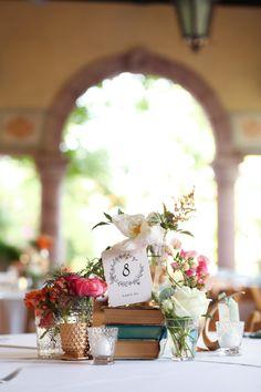 book centerpieces | Kassie Moore #wedding