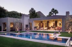 Designer Michael S. Smith, with the architectural firm Marmol Radziner, renovated a home in Rancho Mirage, California. The landscape design of the pool area is by Mia Lehrer + Assoc.