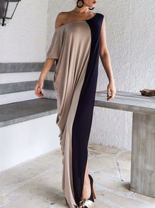 Color-block Slit Maxi Dress