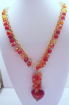 Rust Murano Glass Heart Pendant & Carnelians