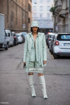 A guest is seen wearing mint green hat, shorts, blazer, boots outside. Blazer And Shorts, Blazer Suit, Green Hats, Short Styles, Mint Green, Milan, Bomber Jacket, Winter Jackets, Street Style
