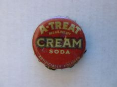 One vintage used A-Treat Cream Soda cork-lined soda bottle cap.