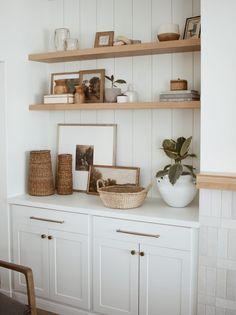 Custom Floating Shelves, Floating Shelf Brackets, Floating Shelf Decor, Dining Room Floating Shelves, Floating Cabinets, Oak Shelves, Solid Wood Shelves, Alcove Shelving, Shelving Decor