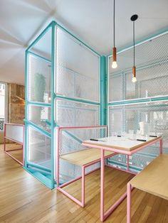 cheerful restaurant interior wire netting structure