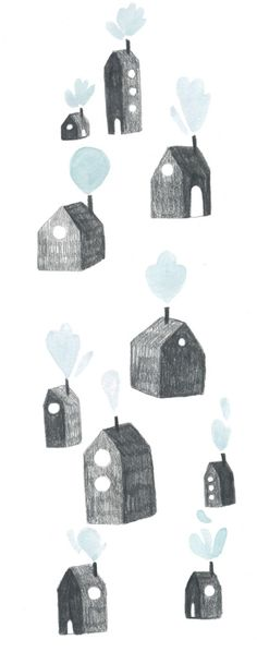 These cute little houses will bring a sweet Scandinavian vibe to your home décor. Illustration by French artist Marion Barraud They make a very thoughtful housewarming gift too. Pattern Illustration, Children's Book Illustration, Painting & Drawing, Painting Prints, Paintings, Tableau Design, Whatsapp Wallpaper, House Drawing, You Draw