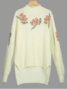 Floral Embroidered Side Slit High Low Sweater - PALOMINO ONE SIZE