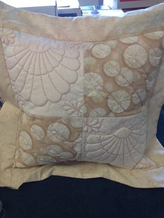 Trapunto blocks 4 patch made into a pillow