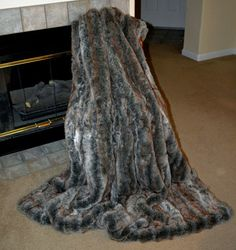 Exotic Gray Faux Fur / Fake Fur Blanket by CindyHeitkampDesigns
