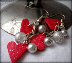Tiny Valentine Hearts Earrings   by RainwaterStudios, $8.00