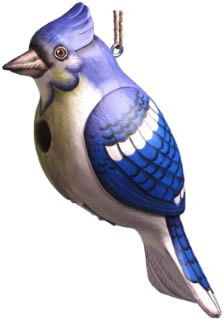 Hand Crafted Blue Jay Wood Birdhouse