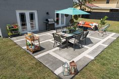 The oversized poured concrete pavers were a challenge to make, but you can see that the resulting paver and gravel patio is simply beautiful.