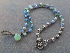 Boho Flower Beaded Crochet Blue Necklace Thai silver flower