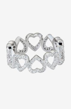Sterling Silver Micro Pave CZ Heart Eternity Ring