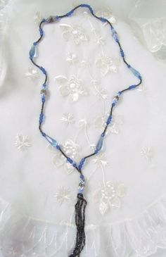 1920's Necklace Blue Faceted Glass Beads and by VintagePolkaDotcom, $38.00  #antiqueglassnecklace #anitquenecklace #blueglassnecklace #flappernecklace