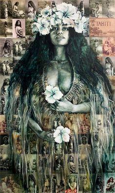 HA'AMANA'ORA'A I TE MAU TUPUNA Fine Art Prints, Canvas Prints, Pigment Ink, Oras, Tahiti, Art Reproductions, All Print, Cotton Canvas, Mixed Media