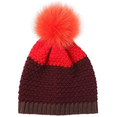 263992c0a36 Etro Women Knitted Beanie Hat W  Fur Pompom (€200) ❤ liked on
