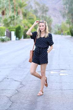 Balmy nights in Palm Springs, wearing the Madewell Perimeter Romper | Adorned With Love