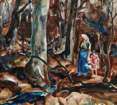 """John Edward Costigan (American, 1888-1972).   Two Watercolors on Paper: In the Woods and At the Park. Woods signed """"J.E. Costigan"""" l.l., Park signed """"COSTIGAN"""" l.l. Sight sizes to 17 3/4 x 19 3/4 in., framed.  Sold for: $1,353"""