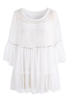 Ethereal Radiance Sheer Dolly Top in White- New Arrivals - Retro, Indie and Unique Fashion