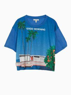 Blue Coconut Trees Landscape Digital Printing T-shirt | Choies