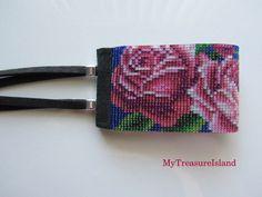 Beaded Bracelet Roses Bead Loom Roses Bracelet Wide Cuff